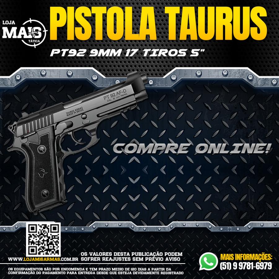 A PISTOLA TAURUS CALIBRE 9MM 92/17 TIROS CANO 5