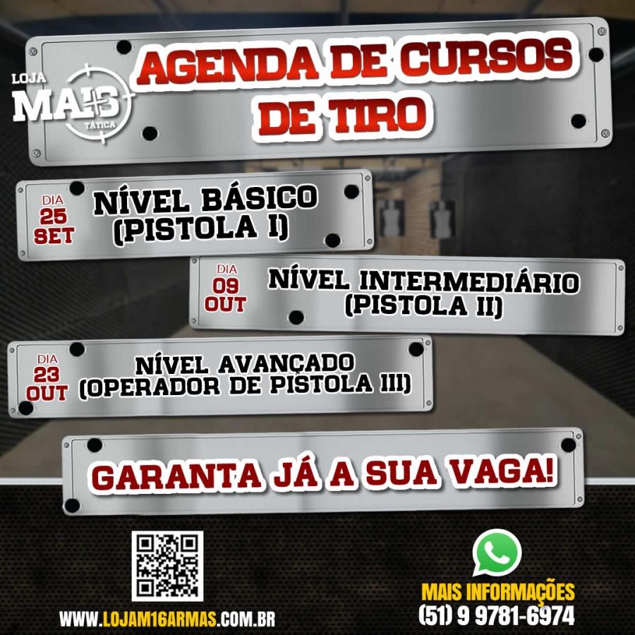 CONFIRA A AGENDA DE CURSOS DE TIRO DO CLUBE M16!