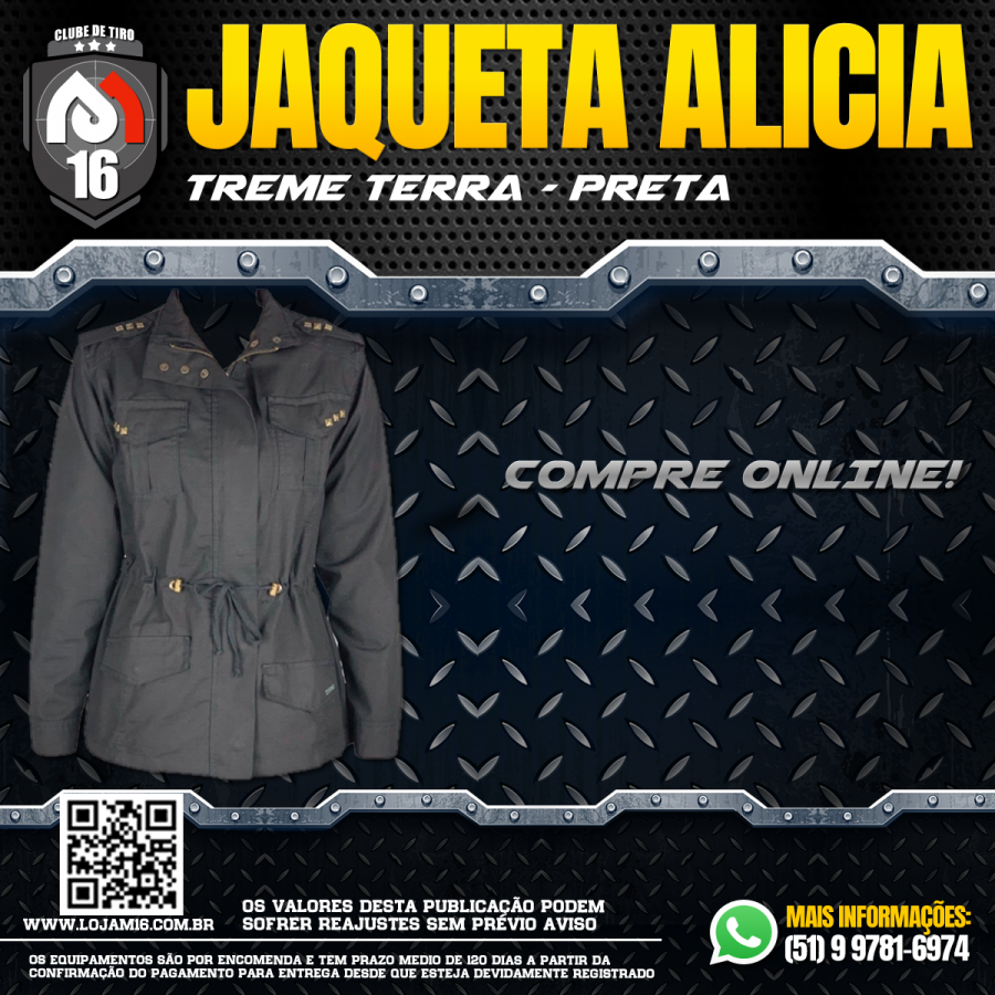Jaqueta Feminina Alicia Treme Terra - Preta