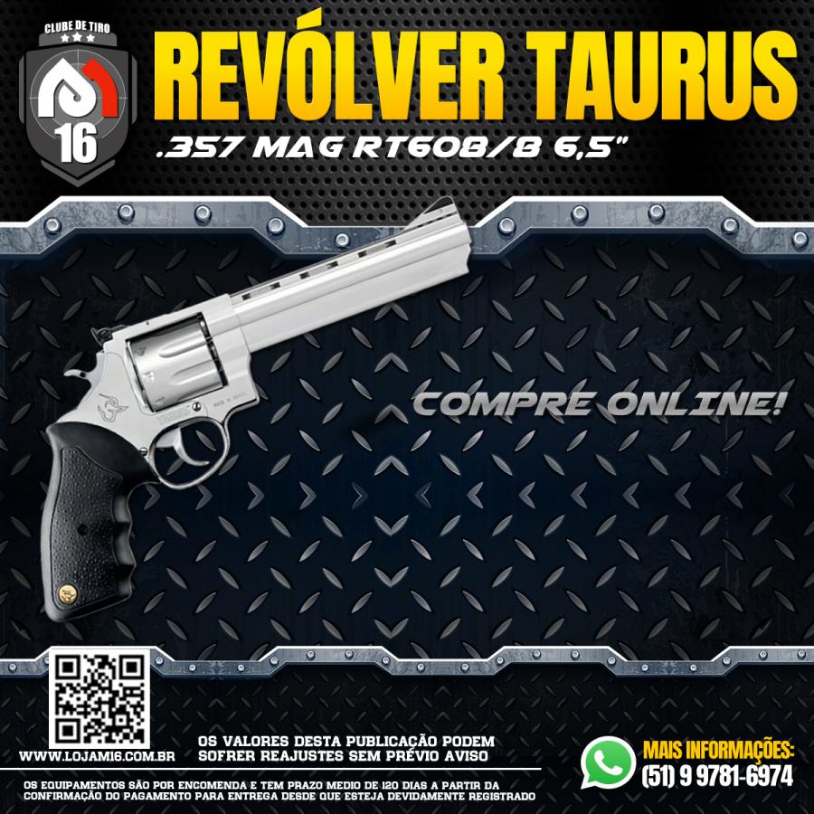 "Revolver Taurus Calibre .357 Mag Rt608/8 Tiros Cano 6,5"" Inox fosco"