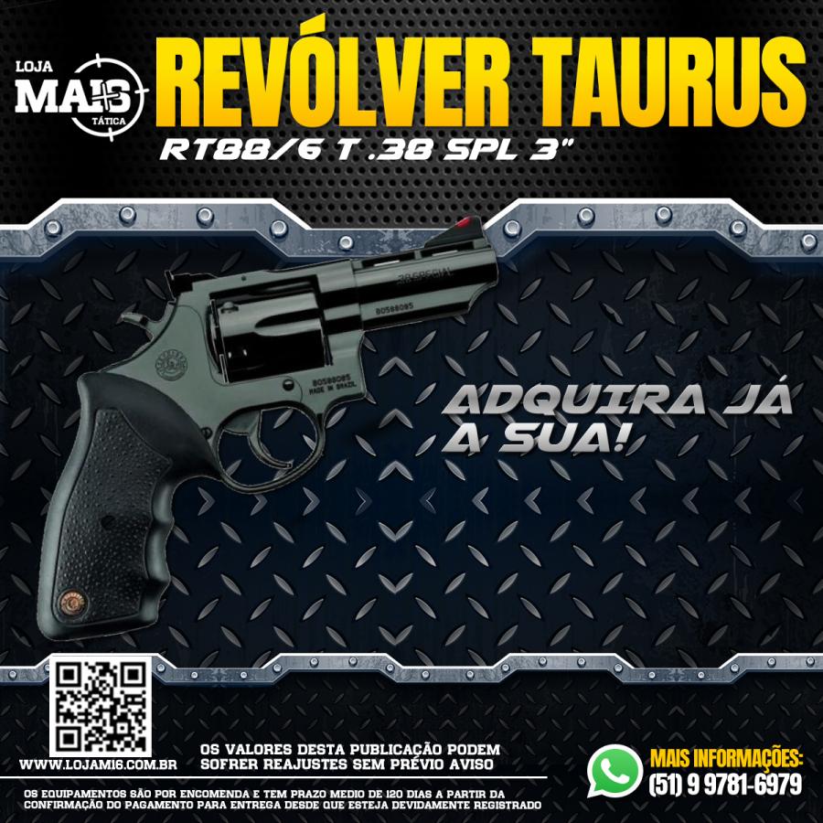 """JÁ ESTÁ FAMILIARIZADO COM O REVOLVER TAURUS RT88/6 TIROS CALIBRE .38 SPL CANO 3"""" OXIDADO?"""