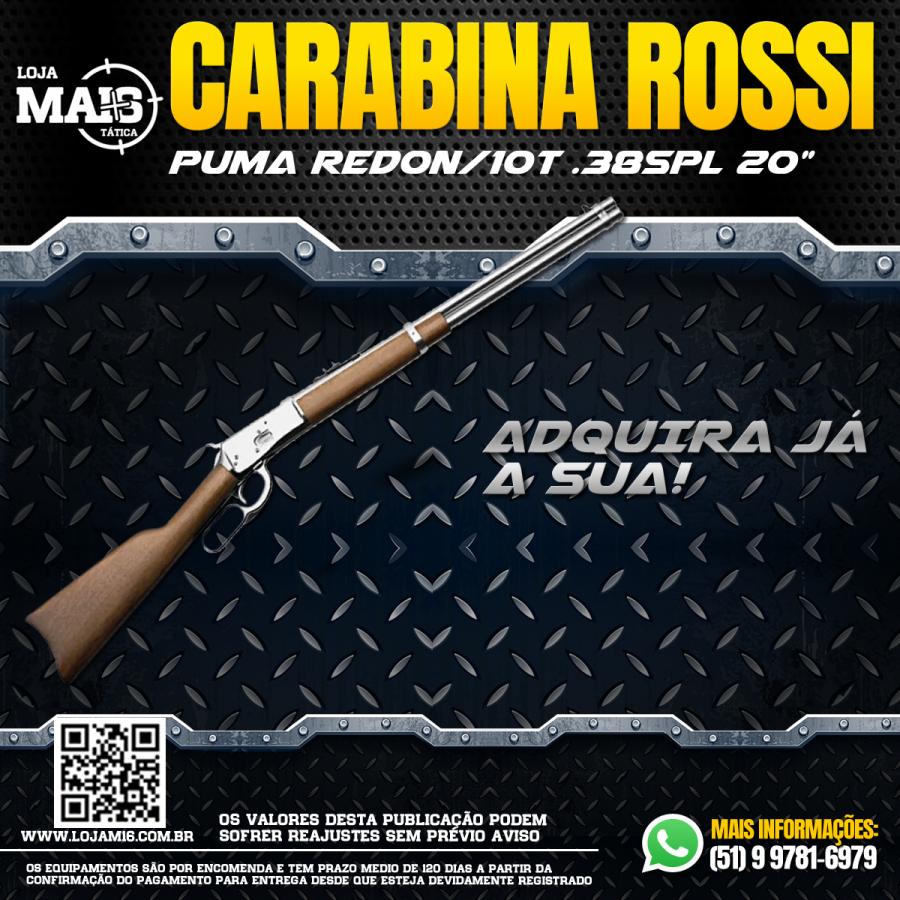 """CONHECE CARABINA ROSSI PUMA REDON/10 TIROS CALIBRE .38SPL CANO 20"""" INOXIDAVEL?"""