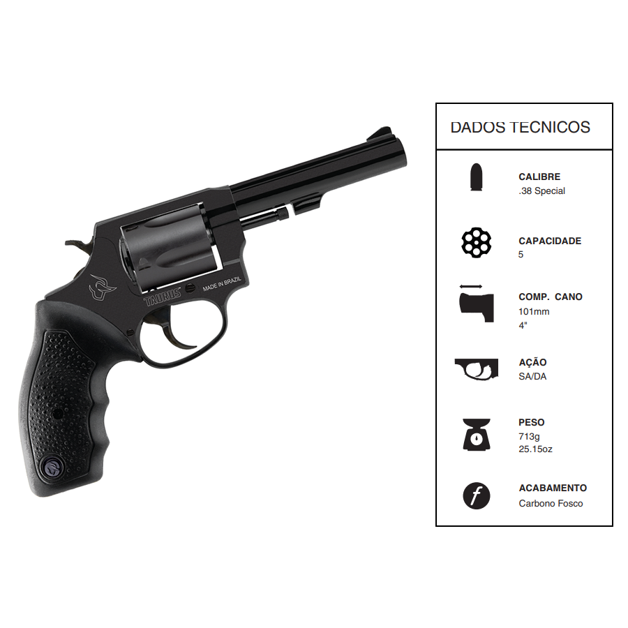 """Revolver Taurus Rt85/5 TIROS CALIBRE .38spl CANO 4"""" Oxidado Fosco"""