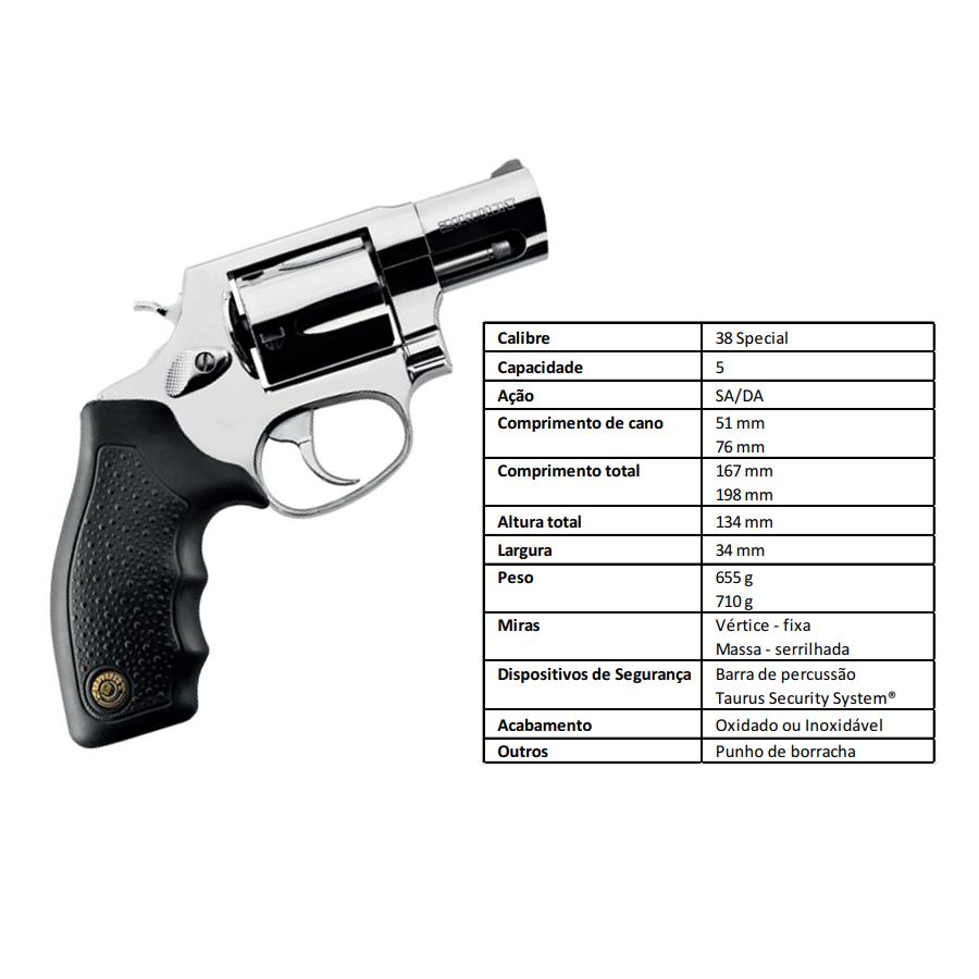 "Revolver Taurus Rt85s/5 TIROS CALIBRE .38 Spl CANO 2"" Inox"