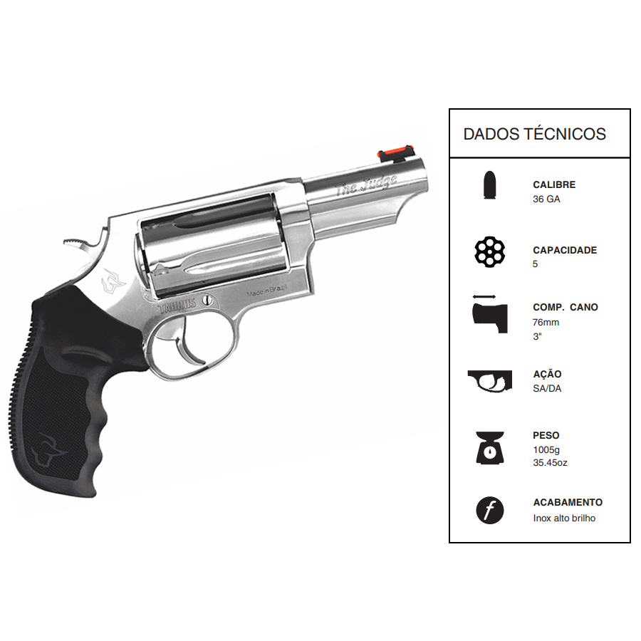 "Revolver Taurus Rt410/5 TIROS CALIBRE 36 GA CANO 3"" Inox"