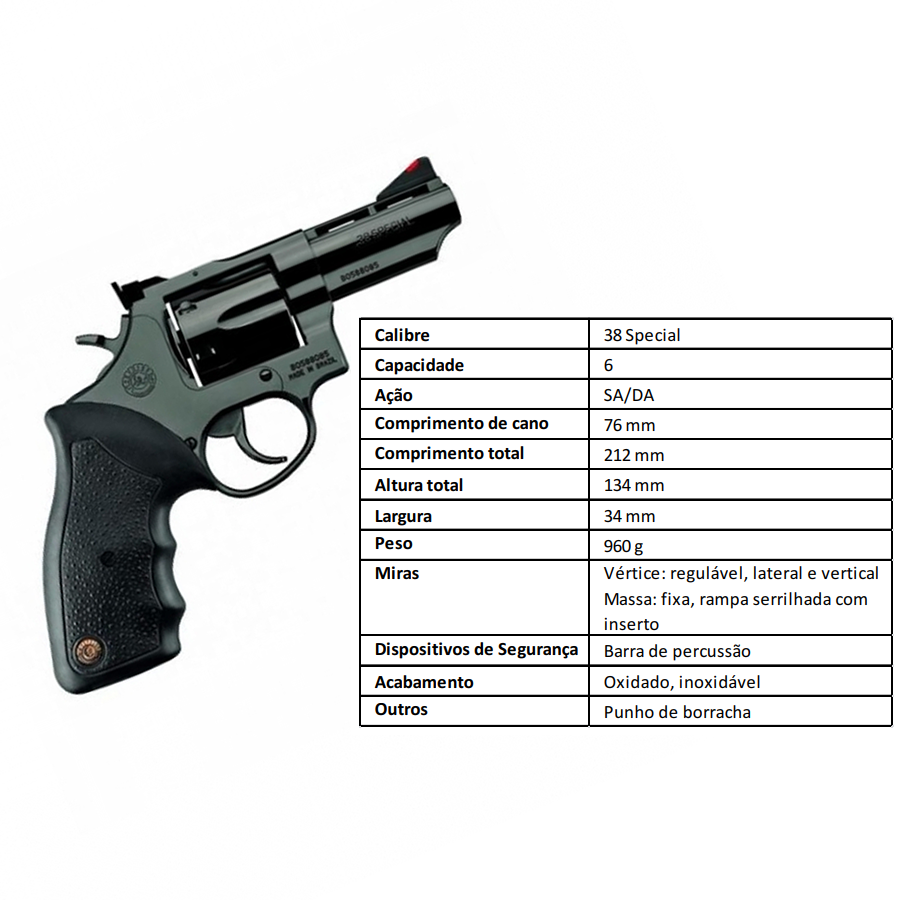 "Revolver Taurus Rt88/6 TIROS CALIBRE .38 Spl CANO 3"" Oxidado"