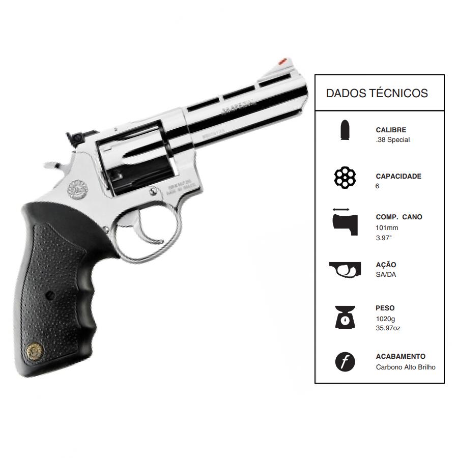 "Revolver Taurus Rt889/6 TIROS CALIBRE .38 Spl CANO 4"" Inox"