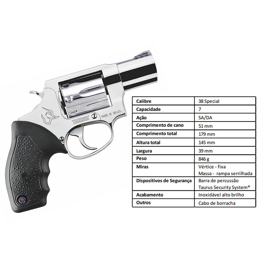 "Revolver Taurus Rt817/7 TIROS CALIBRE .38 Spl CANO 2"" Inox"