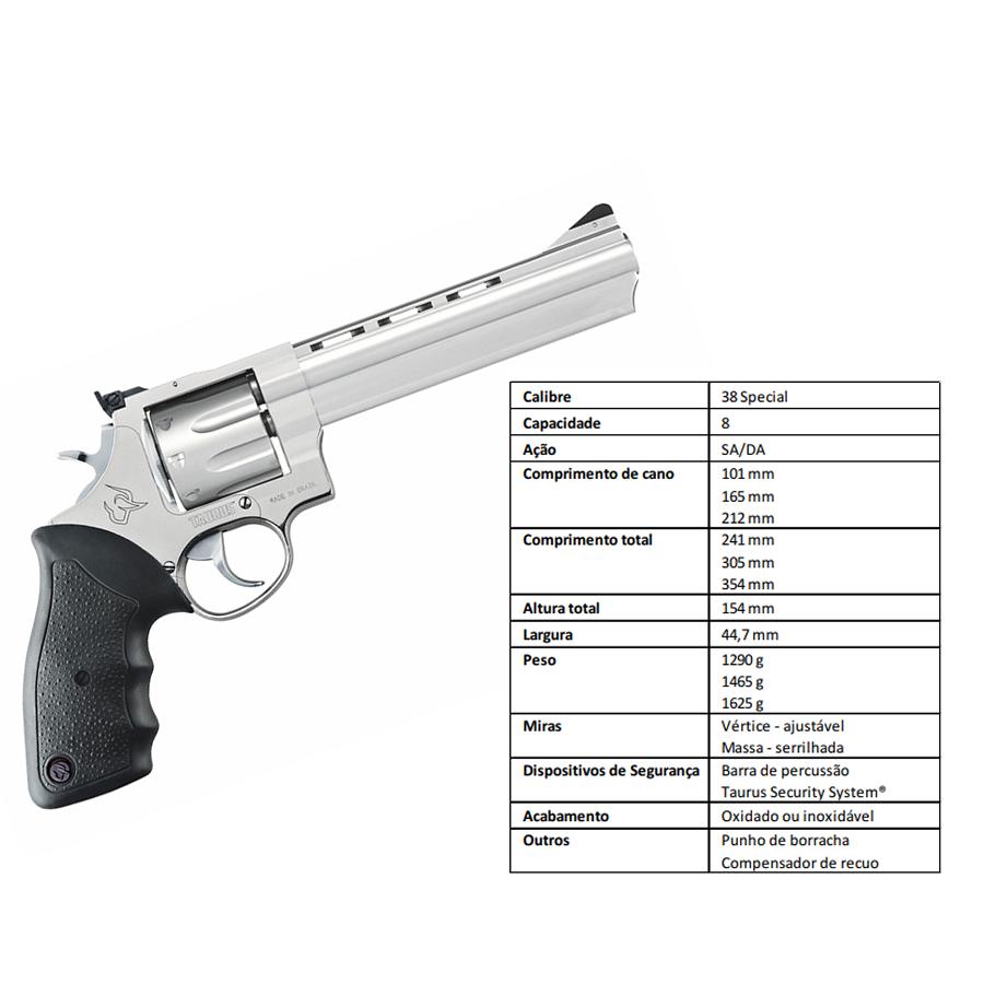 "Revolver Taurus Rt838/8 TIROS CALIBRE .38 Spl CANO 6,5"" Inox"