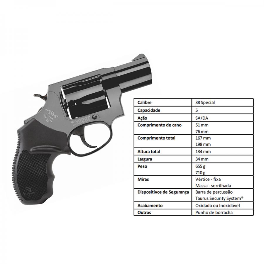"""Revolver Taurus Rt85s/5 TIROS CALIBRE .38spl CANO 2"""" Oxidado Fosco C Nv"""