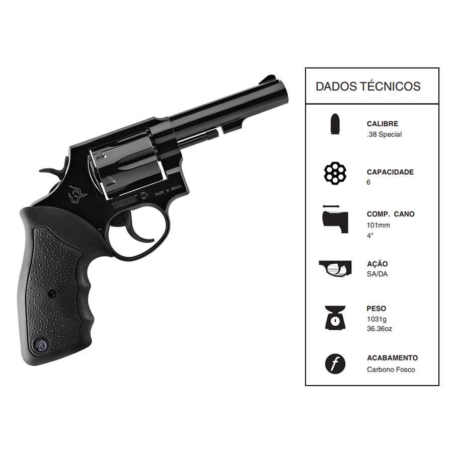 """Revolver Taurus Rt82/6 TIROS CALIBRE .38spl CANO 4"""" Oxid Fosco"""
