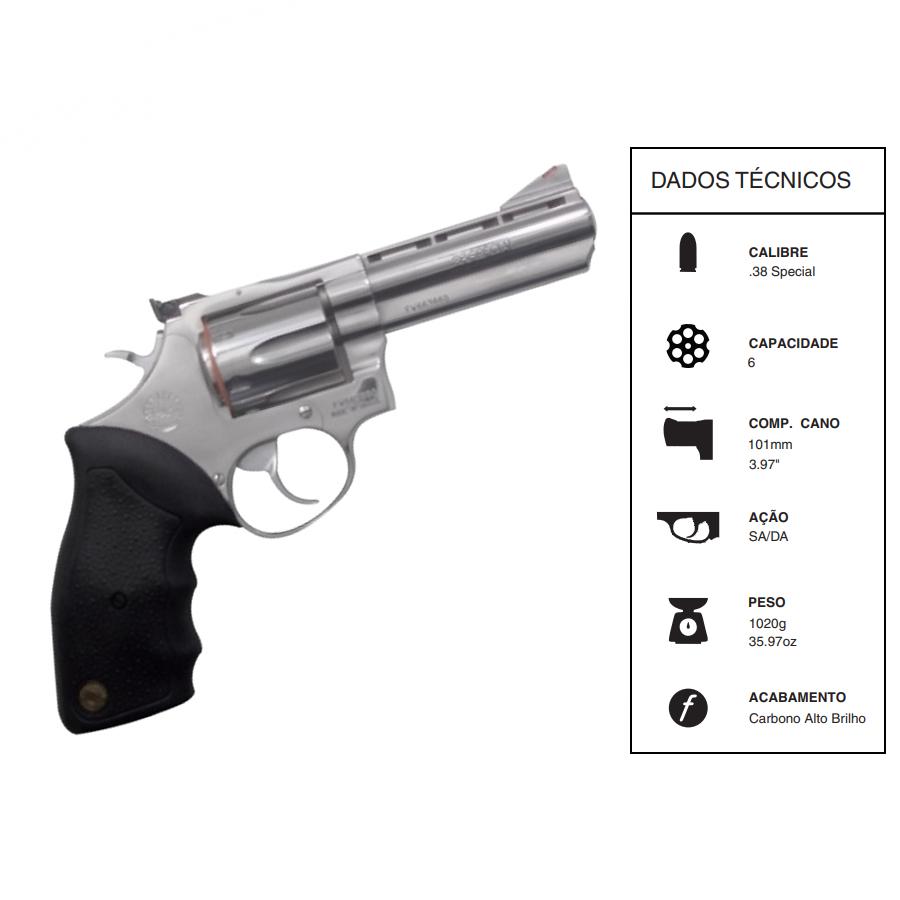 "Revolver Taurus Rt889/6 TIROS CALIBRE .38 Spl CANO 4"" Inox Fosco"