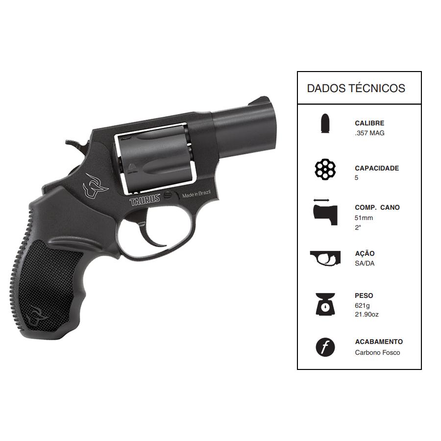 """Revolver Taurus CALIBRE .357 Mag Rt605/5 TIROS CANO 2"""" Carbono fosco"""