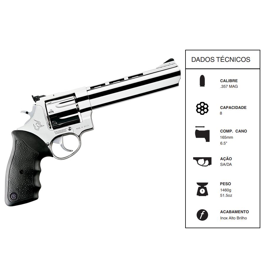 "Revolver Taurus CALIBRE .357 Mag Rt608/8 TIROS CANO 6,5"" Inox alto brilho"