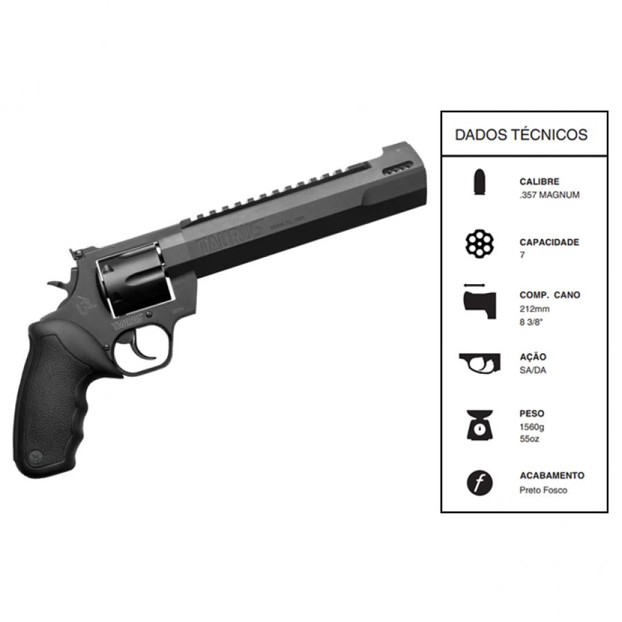 """Revolver Taurus Rt357h CALIBRE .357 Mag Carbono fosco CANO 8,3"""" 7 TIROS"""