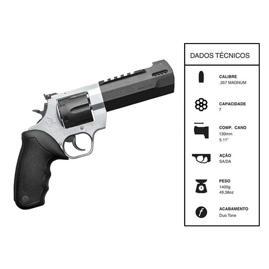 "Revolver Taurus Rt357h CALIBRE .357 Mag Dual Tone CANO 5,1"" 7 TIROS Inox fosco e carbono fosco"