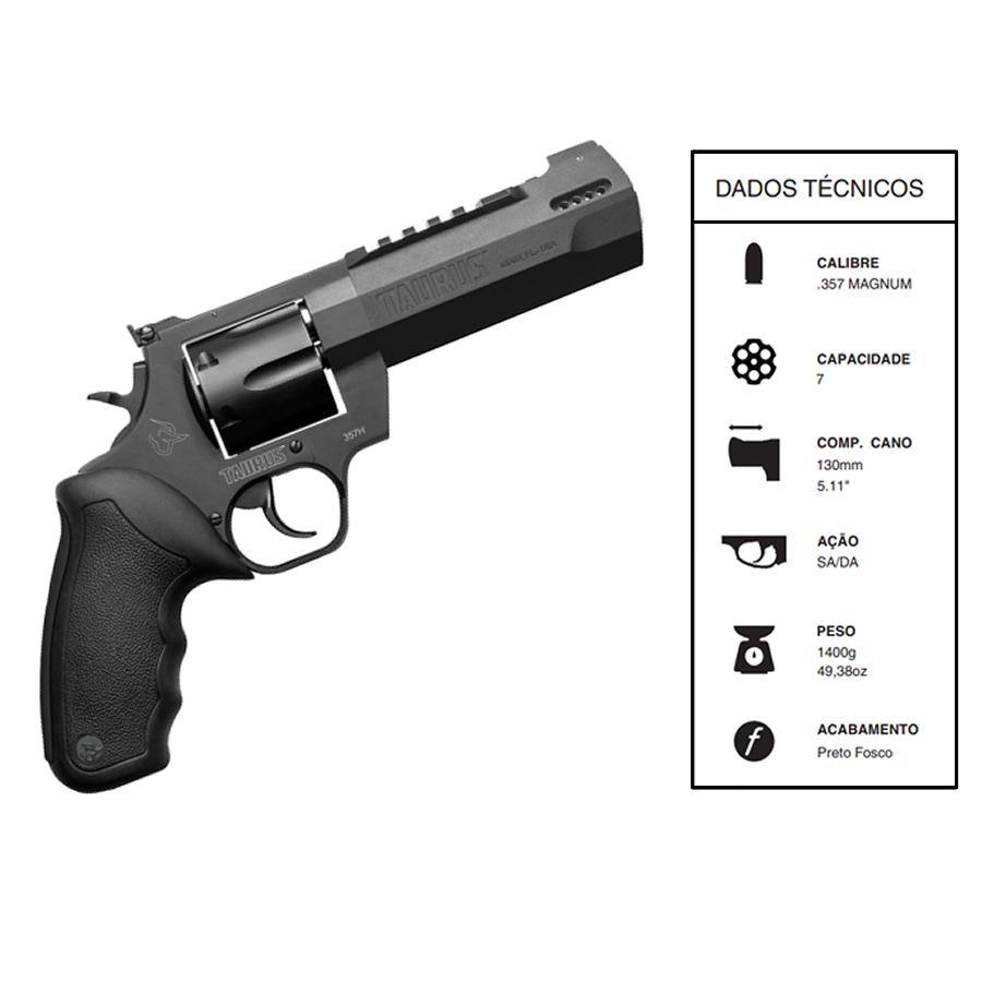 """Revolver Taurus Rt357h CALIBRE .357 Mag Carbono fosco CANO 5,1"""" 7 TIROS"""