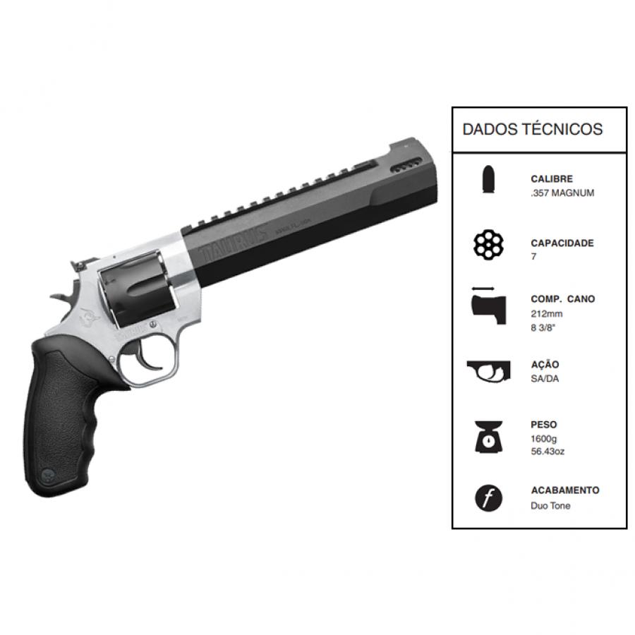"Revolver Taurus Rt357h CALIBRE .357 Magdual Tone CANO 8,3"" 7 TIROS Inox fosco"