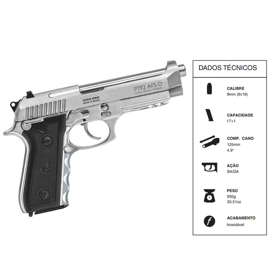 "Pistola Taurus CALIBRE 9mm 92/17 TIROS CANO 5"" Inox fosco"