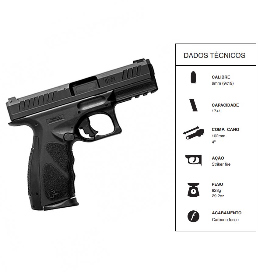"""Pistola Taurus CALIBRE 9mm Ts9/17 TIROS CANO 4"""" Carbono fosco"""