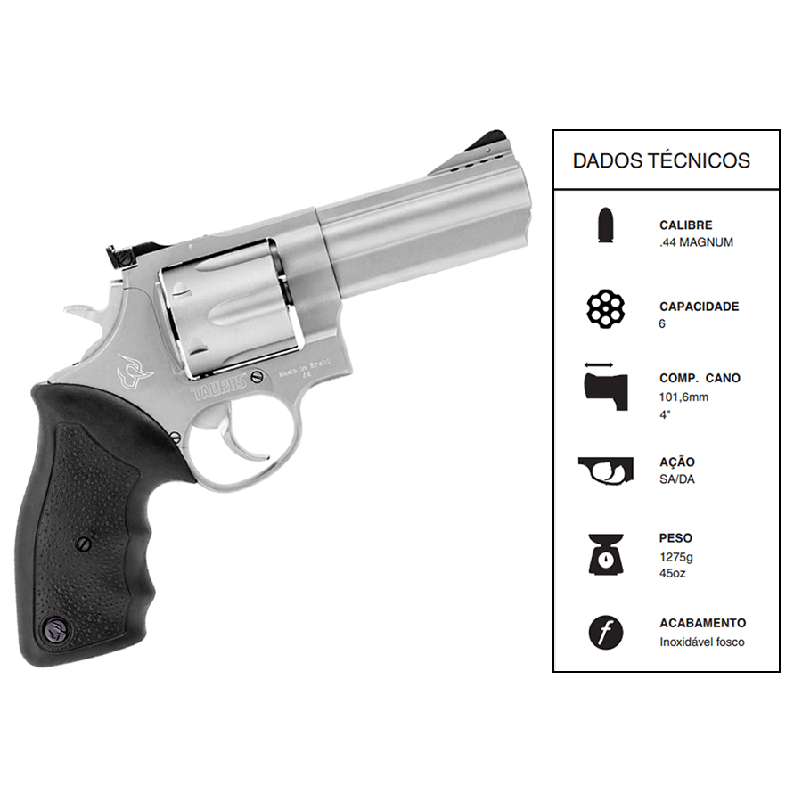 "Revólver Taurus RT 044 CALIBRE .44MAG CANO 4"" INOX FOSCO ICCH525"