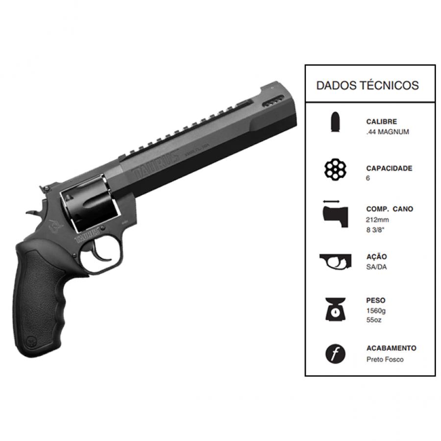 """Revólver Taurus CALIBRE .44 MAG RT44H/5 TIROS CANO 8 3/4"""" CARBONO FOSCO"""