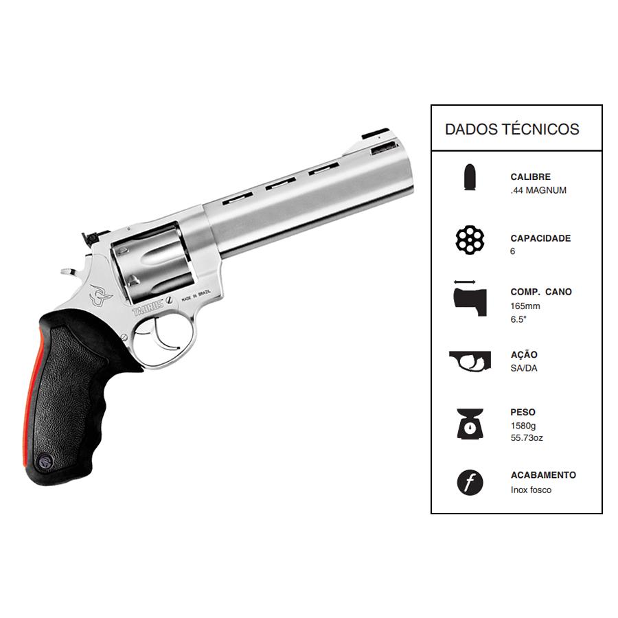 """Revólver Taurus CALIBRE .44 MAG RT444/6 TIROS CANO 6,5"""" INOX FOSCO"""