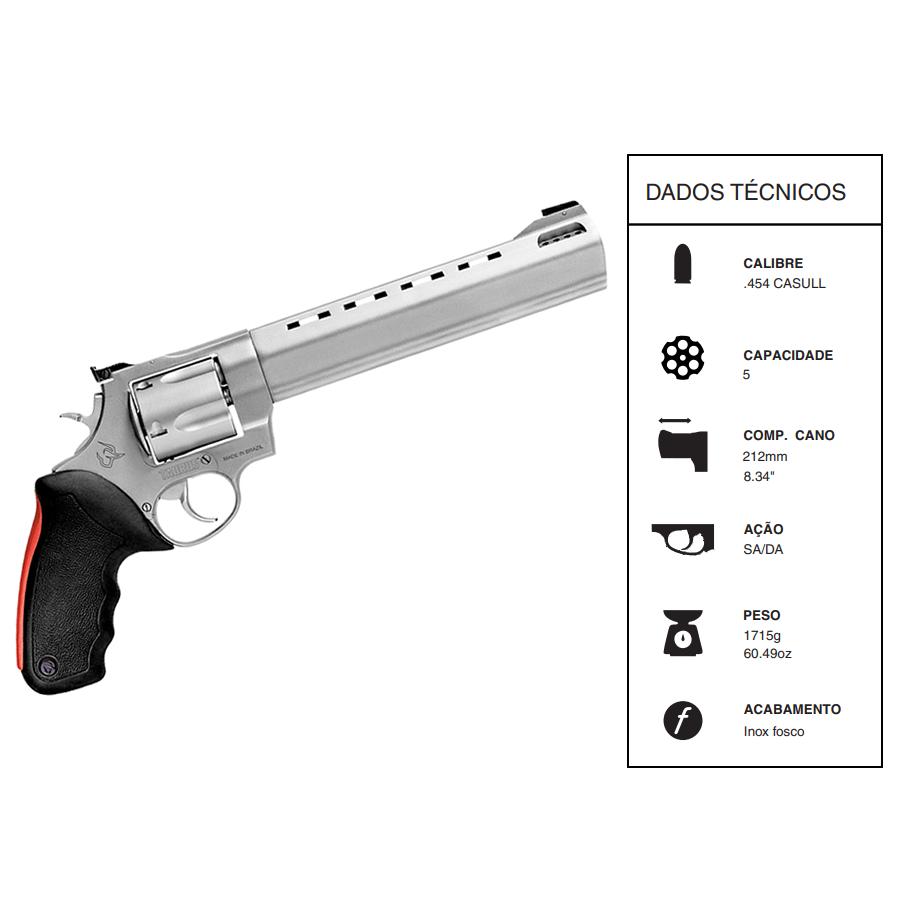 Revólver Taurus RT454 CALIBRE .454 CASUL CANO 212MM 8 3/8 INOX FOSCO