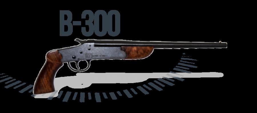 Pistola B-300 cal. 28,32 e 36 (300 mm) (cartucheira) - B-300 Com Coronha Curta – Acabamento Standard Oxidado