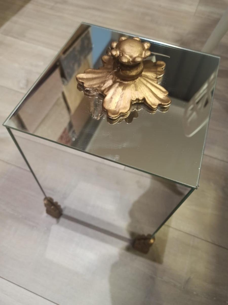 Lixeira tampa espelhada pés dourado pegador folha