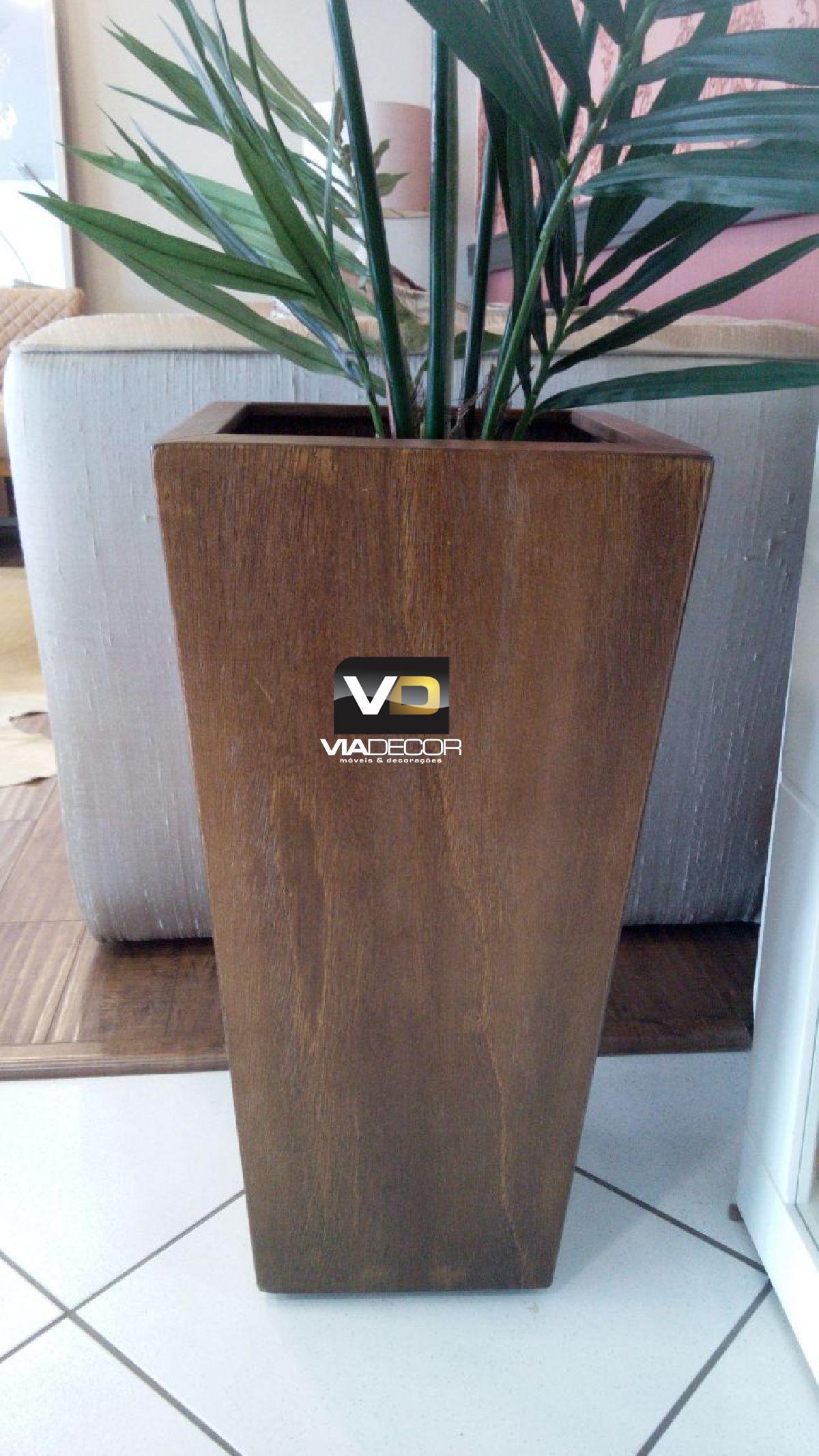 Cachepot em madeira rustica quadrado