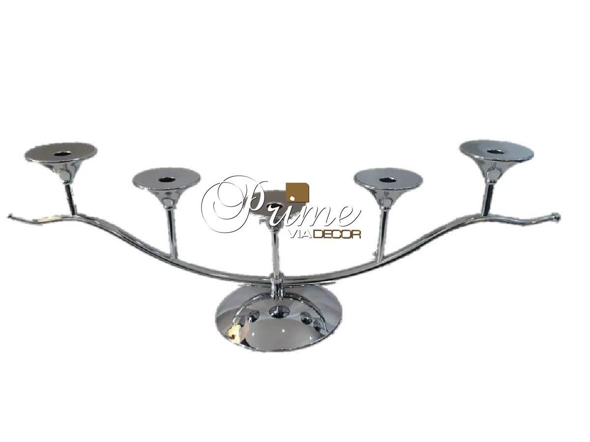 Castiçal 5 velas decorativo metal
