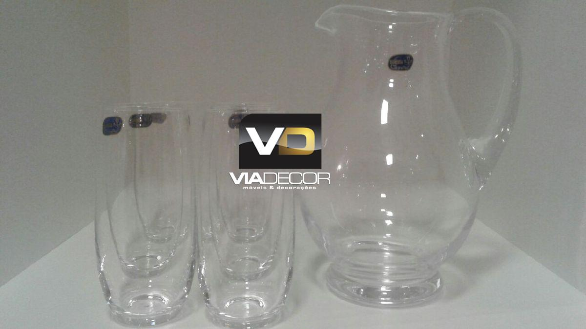 Jarra de 1,5L e 06 copos 350ml incolor