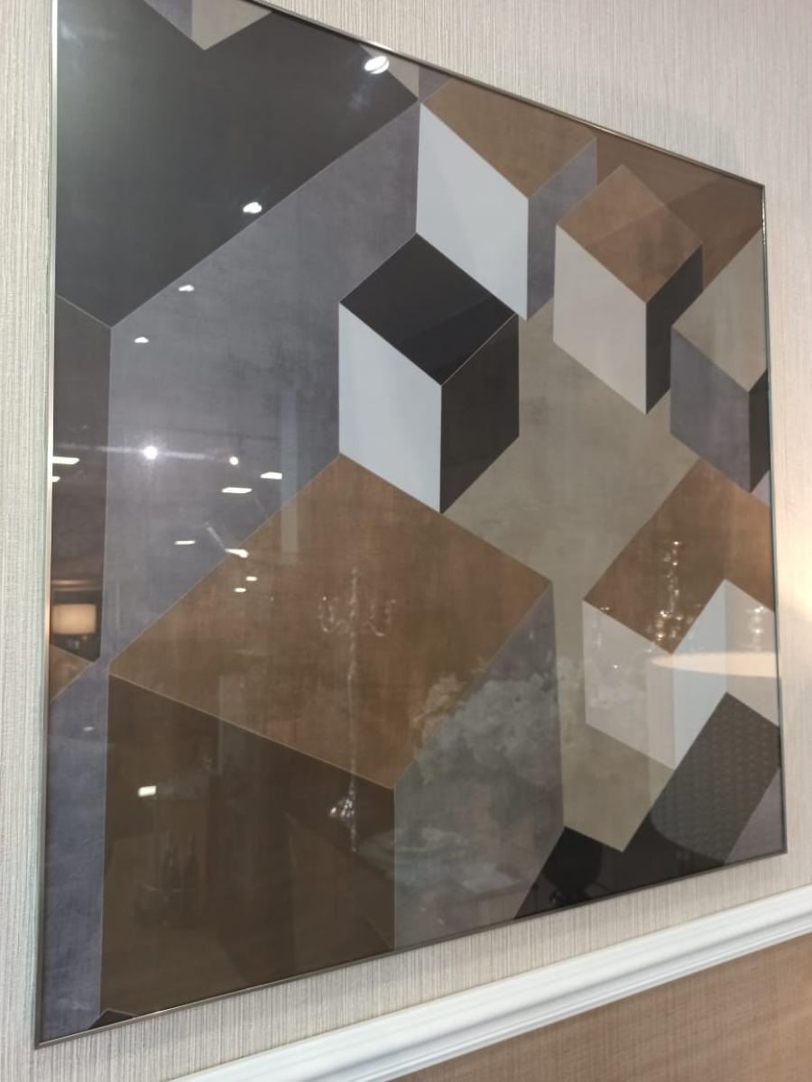 Quadro abstrato cubos geometrico