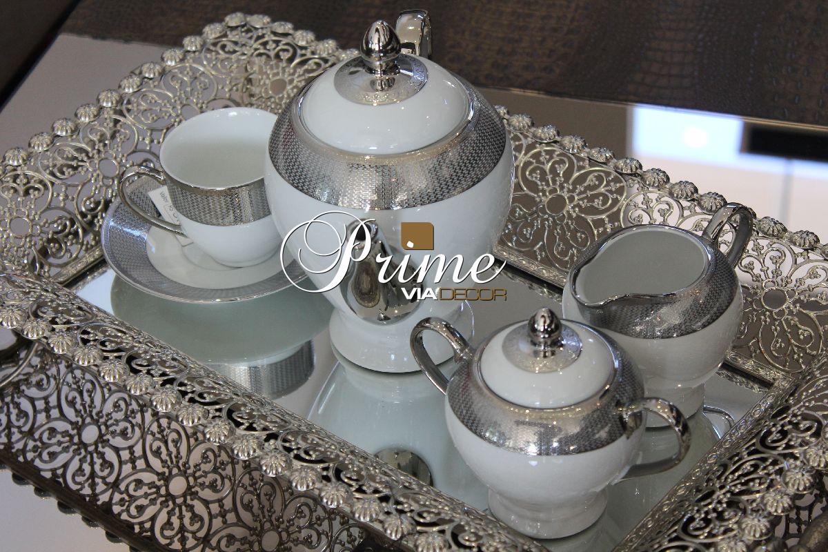 Jogo de chá de porcelana prata 15 peças
